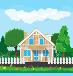 Private suburban house with fence vector