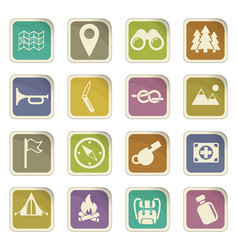 Day of scouts icon set vector
