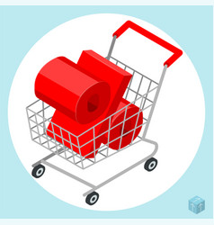 Shopping cart loaded of percent sign vector