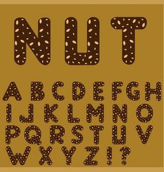Chocolate alphabet with nuts vector
