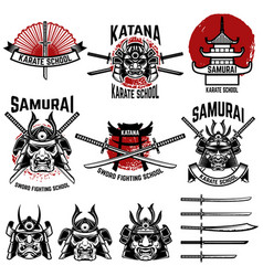 Karate school labels samurai swords samurai masks vector