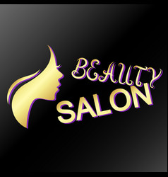 Profile of the girl beauty salon of gold color vector