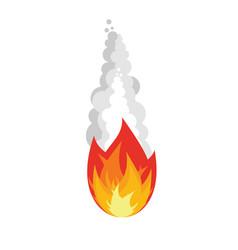 Meteorite isolated fireball on white background vector