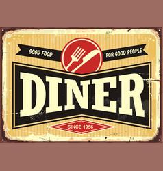 Diner retro sign board vector