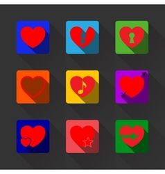 Hearts with long shadow icon set vector