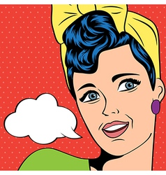 Cute retro woman in comics style vector