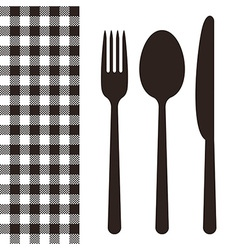 Cutlery and tablecloth pattern vector