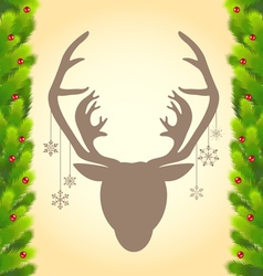 Reindeer and christmas tree abstract background vector