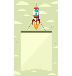 Rocket with a banner in the sky vector