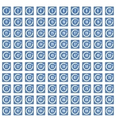 Percentage icons full blue set vector