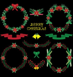 Chalkbard christmas floral collections vector