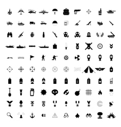 100 military simple black icons vector