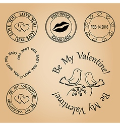 Set of stamps for valentine day - elements vector