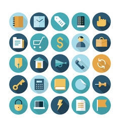 Icons flat line business finance vector