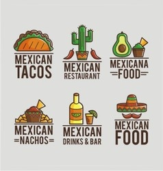 Mexican food logos vector
