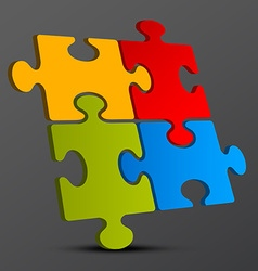 Jigsaw - puzzle pieces 3d on dark background vector