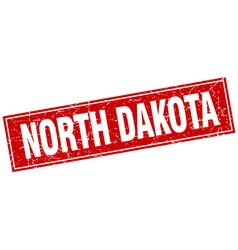 North dakota red square grunge vintage isolated vector