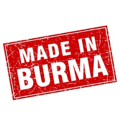 Burma red square grunge made in stamp vector