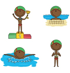 Swimmer boys vector