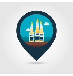Beer bottle pin map icon summer vacation vector