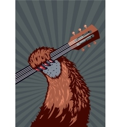 Animal paw with guitar music poster background vector