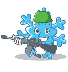 Army snowflake character cartoon style vector