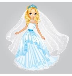 Beauty Blonde Princess In Wedding Dress vector image