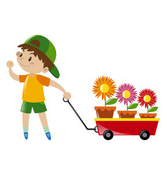 Boy pulling red wagon loaded with flowers vector