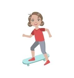 Boyish Girl Sketeboarding vector image