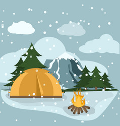 camping winter hiking adventure tourist landscape vector image