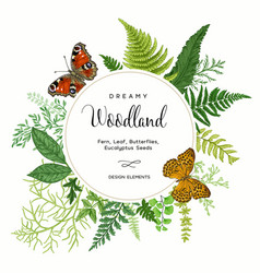 Card with ferns and butterflies vector