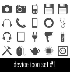device icon set 1 gray icons on white background vector image