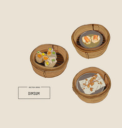 dim sum of chinese cuisine vector image