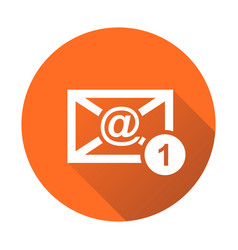 Email envelope message in flat style on round vector