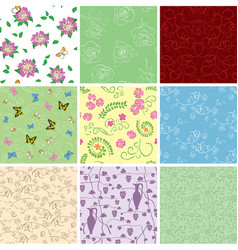 Floral backgrounds with flowers - seamless vector