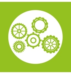 Green gears object design vector