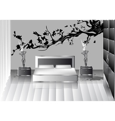 grey bedroom vector image vector image