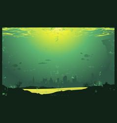 grunge urban underwater urban landscape vector image vector image