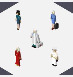 isometric human set of seaman medic policewoman vector image vector image