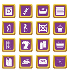 laundry icons set purple vector image vector image