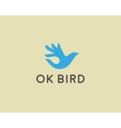 Ok bird logo design hand wings logotype vector