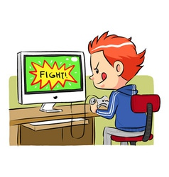 Playing Computer Games vector image vector image