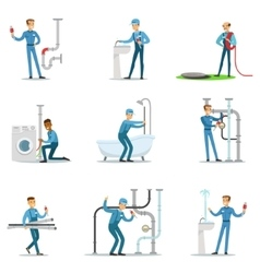 Plumber And Water Supply Plumbing Specialist At vector image