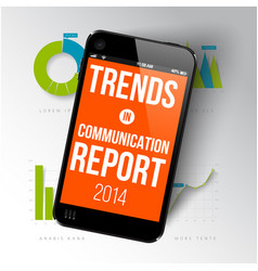 Report template with realistic smartphone vector