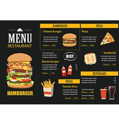 restaurant cafe menu graphic template flat design vector image vector image