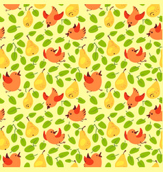Seamless pattern with fresh yellow pears vector