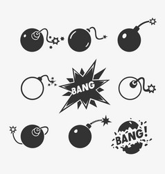 set of bomb symbols vector image vector image