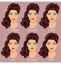 Set of different woman face shapes 2 vector image vector image