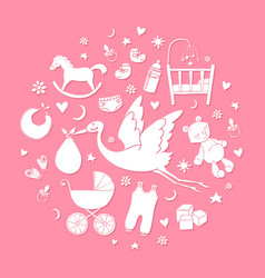 Set of hand drawn elements baby girl stuff vector