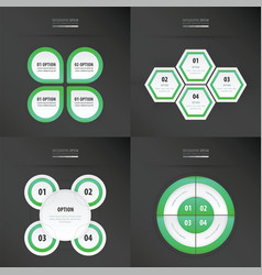 Set of presentation design neon green color vector